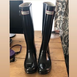 Hunter black rain boots size 7
